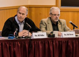 Alaska Governor, Bill Walker and Representative Bob Herron at an Energy Committee meeting in Bethel. Image-State of Alaska