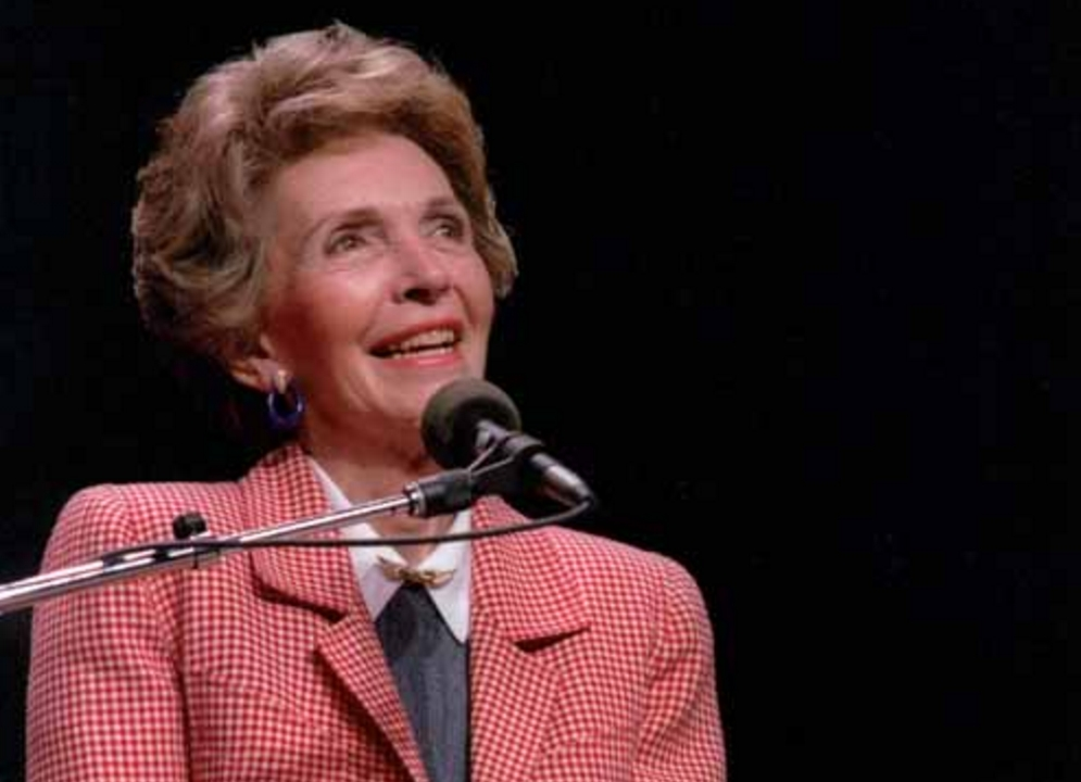 Former First Lady, Nancy Reagan speaking at a 'Just Say No' Rally in Los Angeles, California. 5/13/87. Image-Public Domain