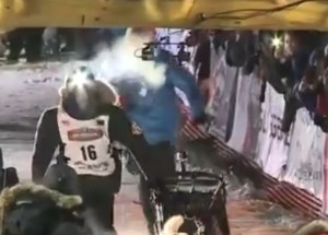 29-year-old Dallas Seavey crosses the finish line for his fourth consecutive win of the Iditarod on Tuesday morning. Image-Internet screengrab of KTUU video