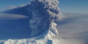Image taken by a U.S. Coast Guard HC-130H based out of Kodiak during this current eruption. Image-Lieutenant Commander Nahshon Almandmoss/USCG