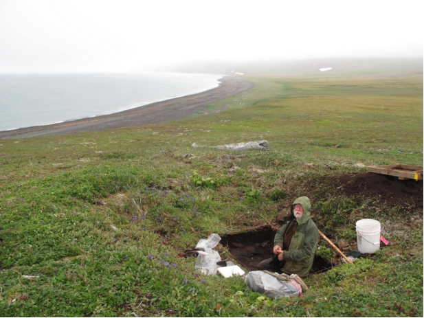 Archeologist Dennis Griffin examines the remains of a housepit from Thule-era people who lived briefly on St. Matthew Island in about 1650. Photo by Ned Rozell.