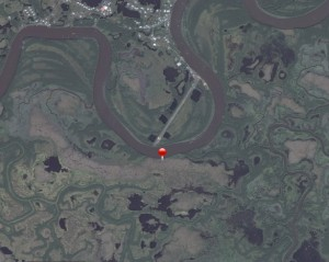 Location where the excavator went through the ice south of Tuntutuliak. Image-DEC