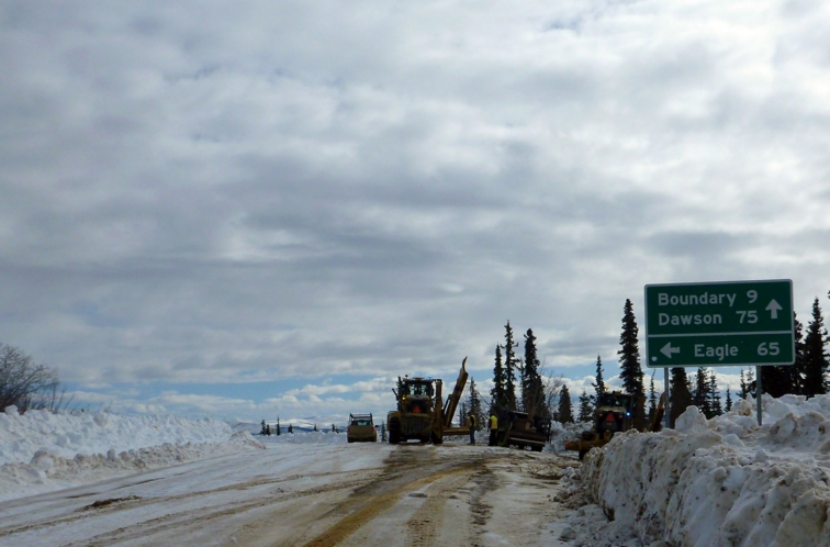 Clearing the Taylor Highway, 65 miles to Eagle. Photo courtesy of ADOT&PF.