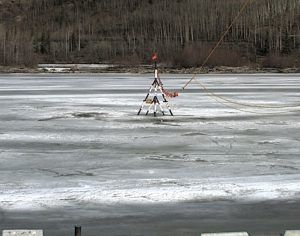 The Nenana Ice Classic tripod sits upon rotting ice as temperatures rise in the region. Image-Nenana Ice Classic