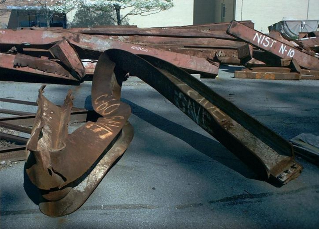 Twisted steel girders from the World Trade Center. Image-Public Domain