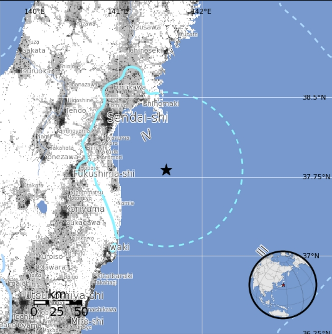 A 5.8 magnitude quake occurred 60 miles southeast of Japan's Honshu Island this morning. Image-USGS