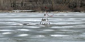 THe ice continues to rot at the tripod location and is expected to trip in a day or two. Image-Nenana Ice Classic