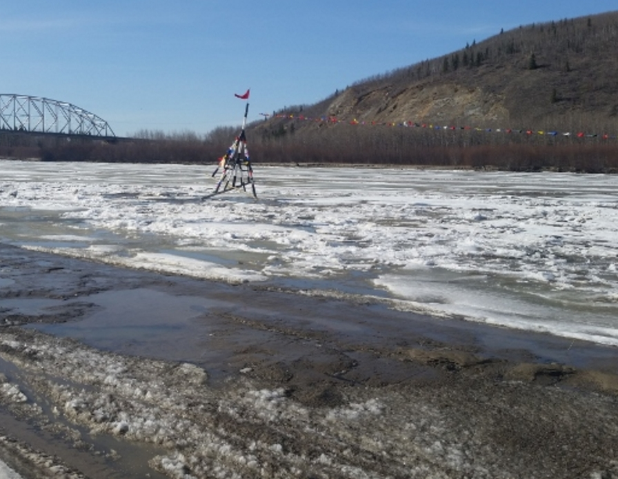 the Nenana Ice Classic tripod as it tips over tripping the clock at 3.39 pm AST on Saturday. Image-Nenana Ice Claqssic