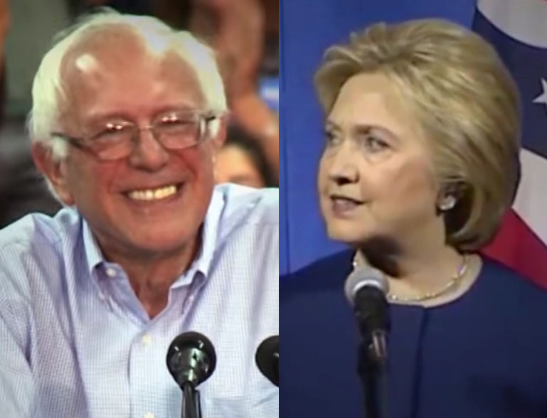 Democratic presidential candidates Bernie Sanders (L) and Hillary Clinton (R).