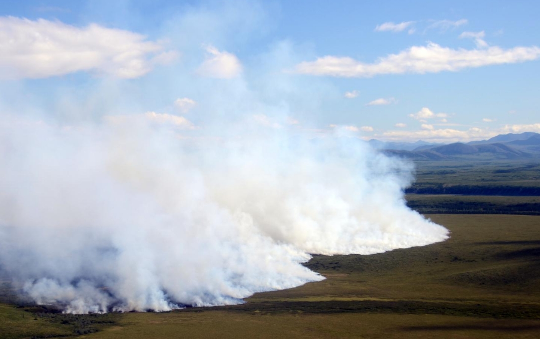 Wildfires, like the 2012 tundra fire in the Noatak National Preserve, are projected to be up to four times as likely by the end of the century. Image-University of Montana courtesy photo