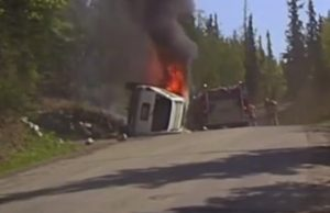 The Anchorage Fire Department responded to put out the flames as they spread over the vehicle. Image-Anchorage Police dashcam