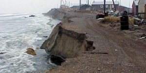 Shishmaref, shown here, suffers erosion problems from intense Bering Sea storms. Image-NOAA