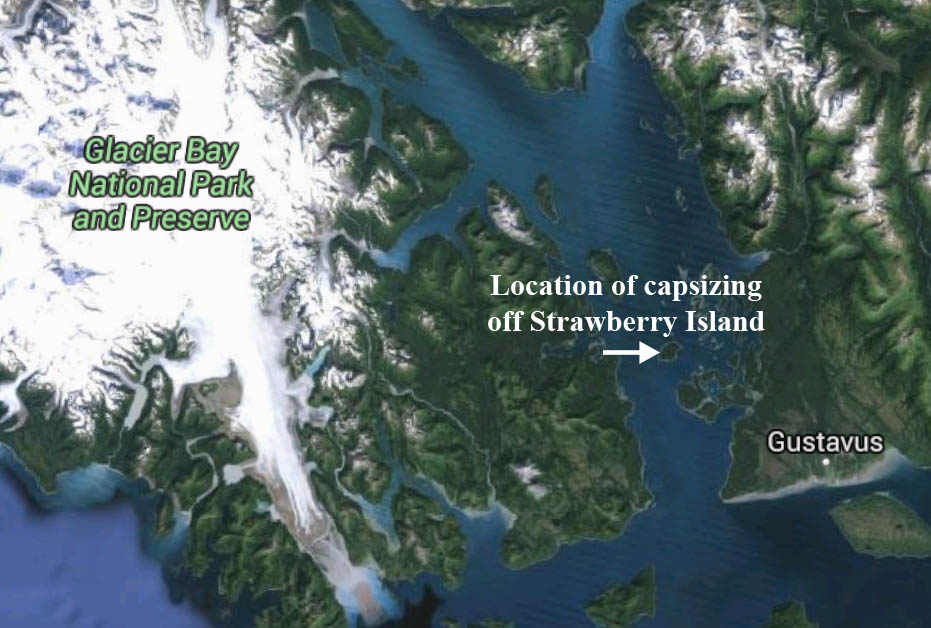 Location of capsizing in Glacier Bay. Image-Google Maps
