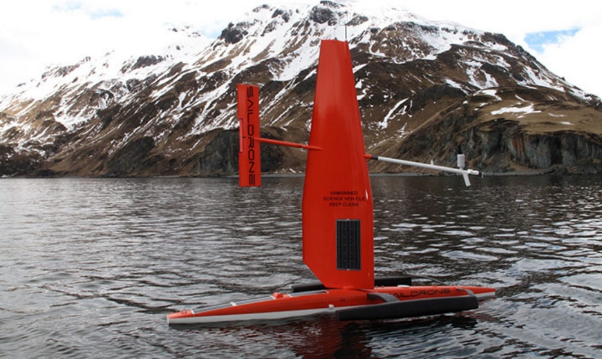 The Saildrone research platform is equipped with technologies to collect oceanographic data. Photo credit: Saildrone Inc.