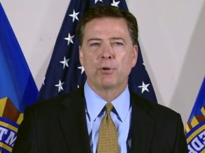 FBI Chief James Comey announcing agency's decision to not bring charges in Clinton Email case.