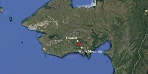 A blaze caused by a campfire broke out between Council and White Mountain on Thursday. Image-Google Maps
