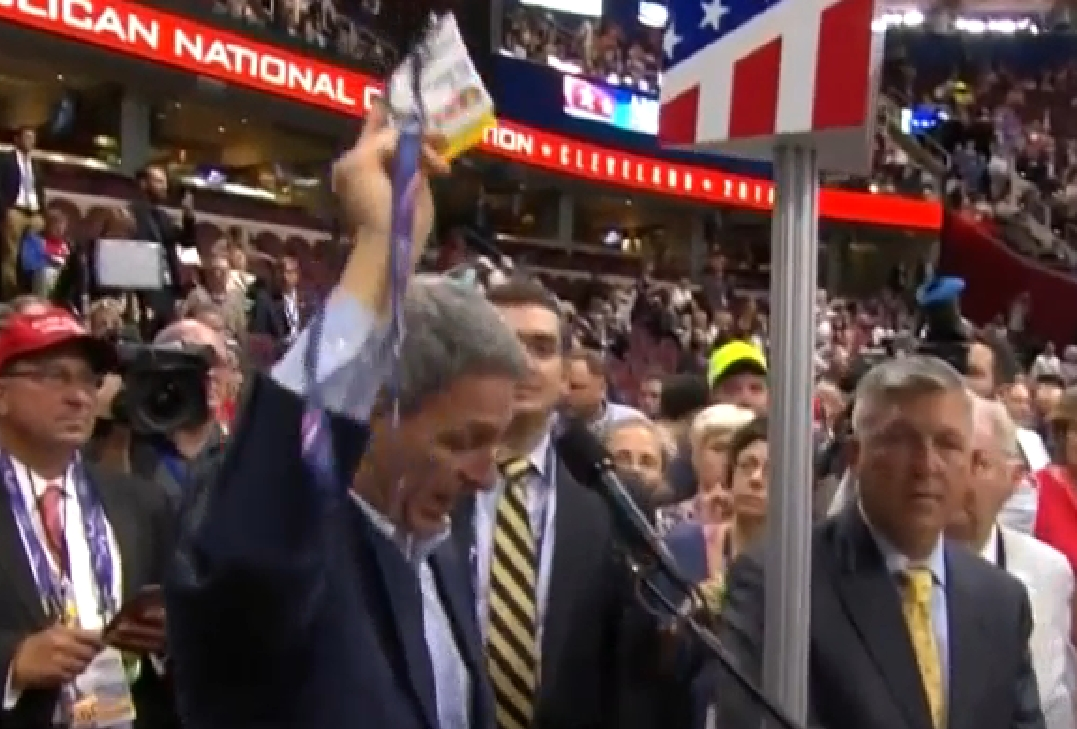 Delegates reolt at National Convention after being denied a roll call vote on convention rules. Image-CSPAN screengrab