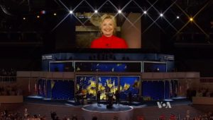 Democratic Presidential Nominee, Hillary Clinton, addressing the convention following her nomination. Image-Screengrab VOA video.