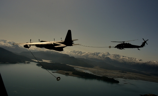 In-flight refueling operation. Image-Alaska National Guard