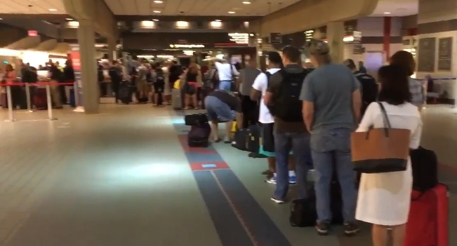 Long lines at Delta as delays and cancellations continue following computer outage. Image-Internet screenshot