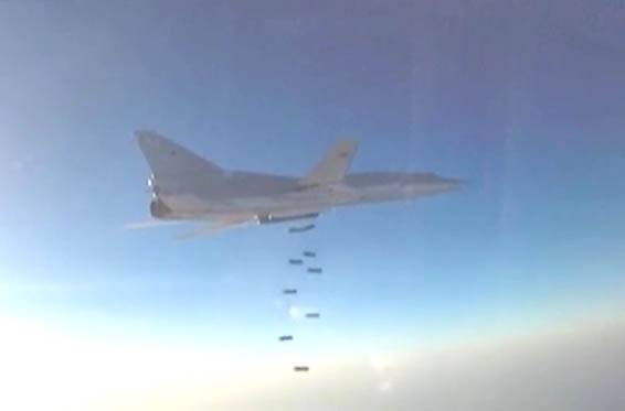 Russian warplane dropping ordinance over Syria. Image-Screenshot of Russian Defense Ministry video