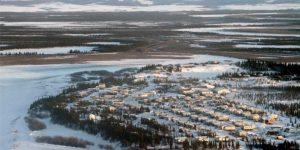 Aerial view of the village of Noorvik.