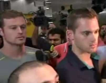 U.S. swimmers Gunnar Bentz and Jack Conger were detained at the Rio De Janeiro airport as they were leaving Brazil. Image-Screenshot BBC video