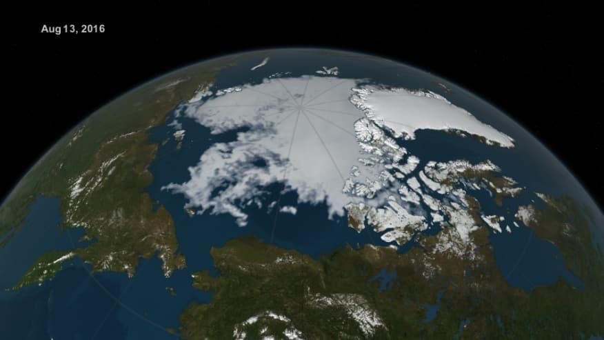 Visualization of Arctic sea ice extent on Aug. 13, 2016. Credits: NASA Goddard's Scientific Visualization Studio