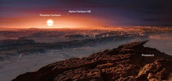 Artist's impression of the planet orbiting Proxima Centauri (annotated)