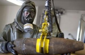 Ordinance suspected as being used for delivering Mustard Gas being inspected.