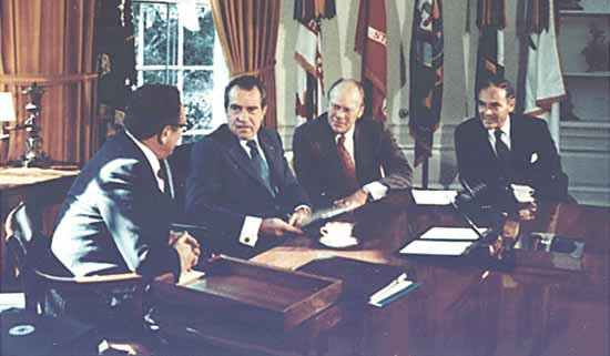 President Richard M. Nixon meets in the Oval Office with Vice President Gerald R. Ford, Secretary of State Henry A. Kissinger, and Chief of Staff Alexander Haig. 1973. Image-Ford Library