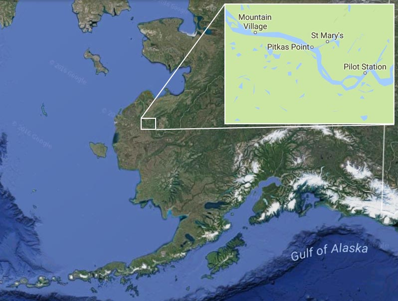 Google map showing location of Pilot's Station and Pitka's Point.