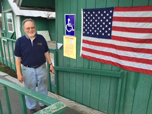 Representative Don Young in Fort Yukon preparing to cast his vote in the 20-16 primary. Image-Office of Rep. Young