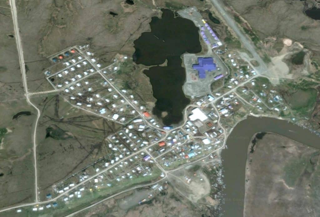 Aerial view of the community of Chevak. Image-Google Maps