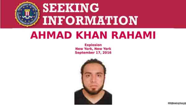 FBI poster seeking information on Ahmad Khan Rahami, a person of interest in the Chelsea, NY bombing.