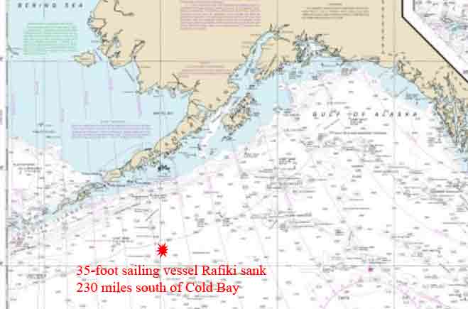A 35-foot sailboat sank 230 miles to the south of Cold Bay on Wednesday morning. Image-NOAA