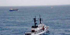 Coast Guard Cutter Morgenthau crew monitors the tow of the disabled 400-foot cargo vessel BBC Colorado in the Gulf of Alaska Oct. 9. Image-U.S. Coast Guard