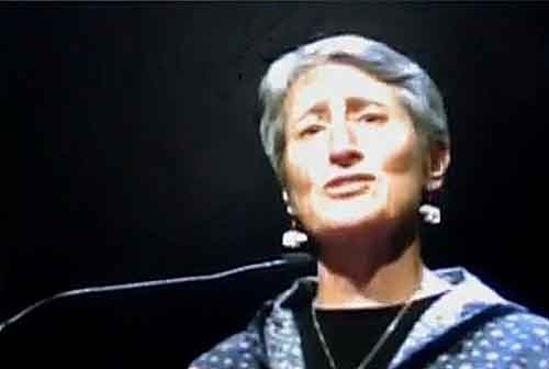Interior Secretary Sally Jewell announces tribal inclusion in Federal Lands management at AFN. Image-Screengrab/Webcenter 11