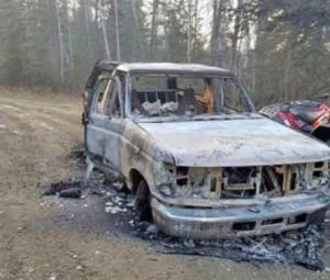 David Grunwald's burned-out Bronco was located Monday on Baldy Trail.