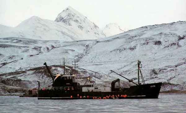 The 117-foot Exito sunk 14 miles northeast of Dutch Harbor on Tuesday night. Image-USFWS