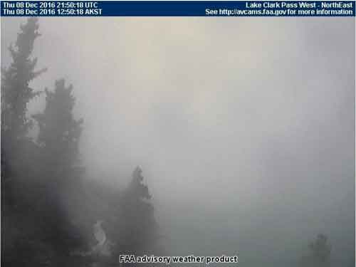 Ice fog conditions continued in the Lake Clark Pass area into Thursday. Image-FAA weather cam