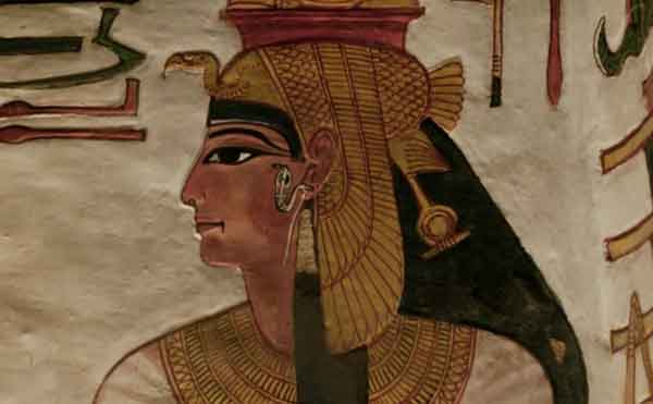 Likeness of Egyptian queen Nefertari in her tomb. Image-Screenshot BBC video