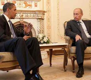 President Obama and President Putin meeting at Putin's dacha outside Moscow in 2009. Image-Pete Souza