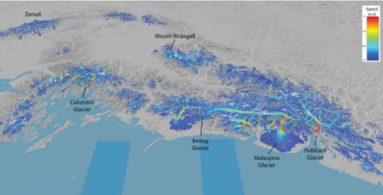 This bird's-eye view of Southcentral Alaska's glaciers shows their speed as measured from space. Scientists are now able to follow surges and seasonal changes in glacier speed over this region using images from Landsat 8. Graphic by Mark Fahnestock