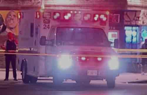 Chicago ambulance at shooting scene.