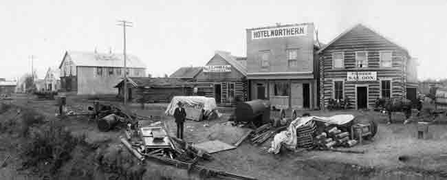 Alaska's then-largest town of Fairbanks, population 8,000, on Aug. 3, 1904, a few weeks before a magnitude 7.3 earthquake rocked the buildings. Photo by Lorenzo E. Robinson, from the R.C. Force Papers, 1900-1910, UAF Rasmuson Library.