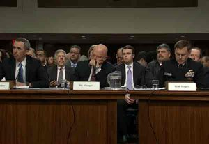 U.S. Intelligence chiefs testify before Senate Armed Services hearing.