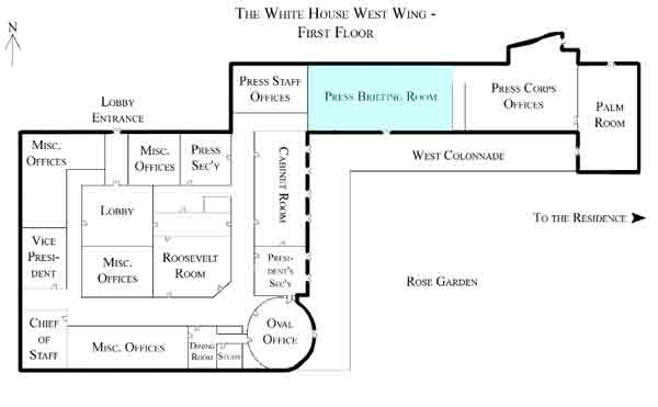 Current layout of White House Press Corps facilities. Image-Public Domain