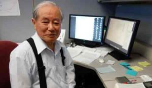 Syun-Ichi Akasofu at his office in the International Arctic Research Center. Photo by Ned Rozell.