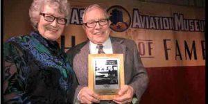 Harold & Florence Esmailka accepting the Aviation Entrepreneur Award at the 2016 Alaska Aviation Hall of Fame Gala. Image-Alaska Aviation Museum